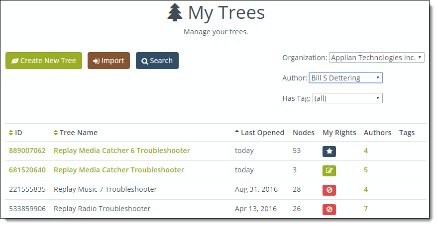 The new My Trees tool.